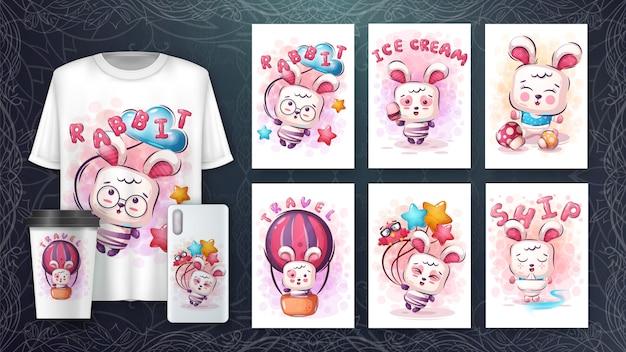 Conjunto de coelho fofo desenho para cartaz e merchandising