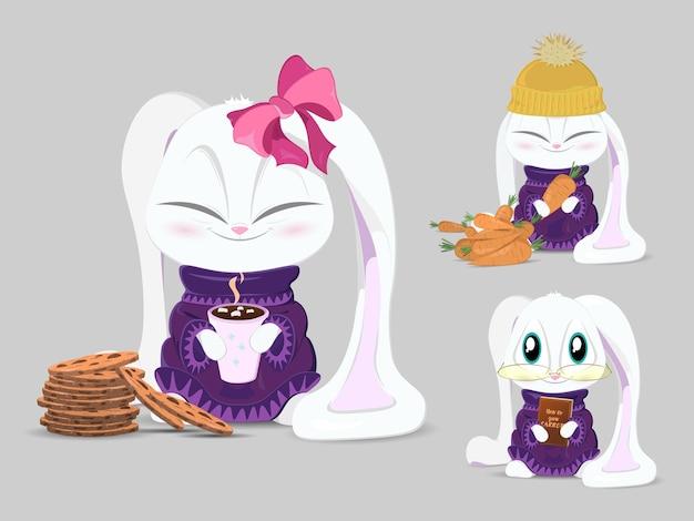 Conjunto de coelho fofo. imprimir desenho coelho, crianças imprimir em t-shirt.