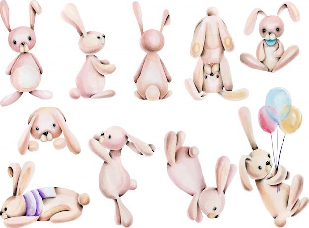 Conjunto de coelhos bonitos aquarela