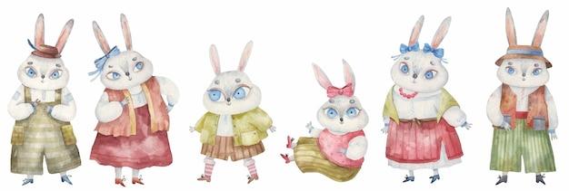 Conjunto de coelhos da páscoa em trajes nacionais com laços e chapéus, ilustração infantil em aquarela