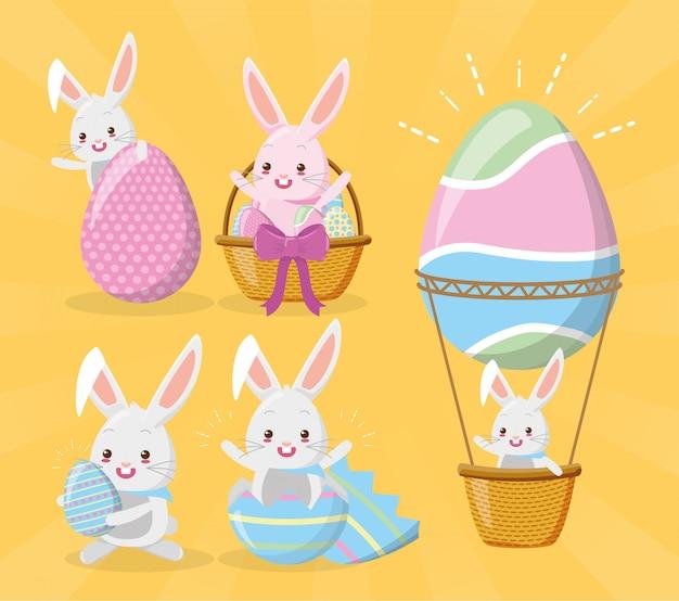 Conjunto de coelhos desejando feliz páscoa