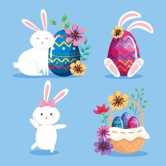Conjunto de coelhos e ovos de páscoa com decoração