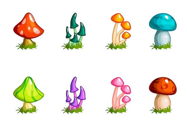 Conjunto de cogumelos diferentes dos desenhos animados, coleção colorida