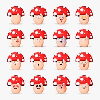 Conjunto de cogumelos fofos com emoticons