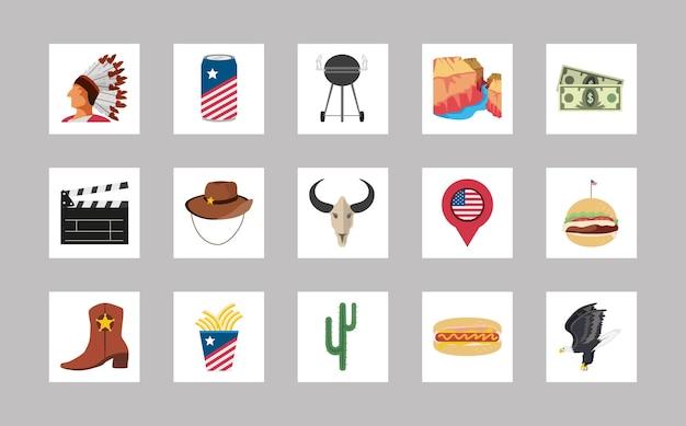 Conjunto de coisas americanas