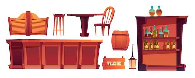 Conjunto de coisas de bar retro ocidental de salão de cowboy