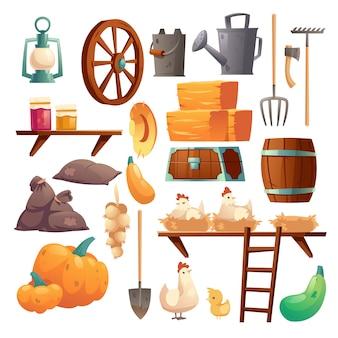 Conjunto de coisas de celeiro, frango e pintinhos, coisas de fazenda