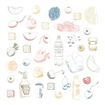 Conjunto de coisas de comida e cozinha