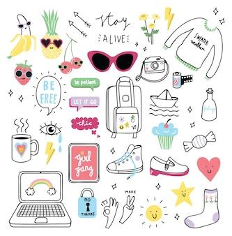 Conjunto de coisas de giro menina no estilo doodle