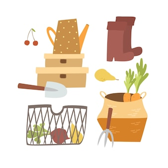 Conjunto de coisas de jardim