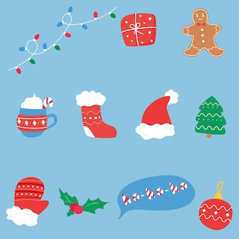 Conjunto de coisas de natal e ano novo. estilo prático de desenho plano.