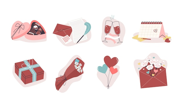 Conjunto de coisas de vibe do dia dos namorados, caixa de chocolate, carta, vinho, calendário, caixa de presente, flores, balões.