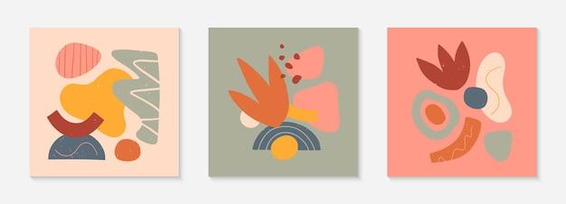 Conjunto de colagens vetoriais modernas com formas orgânicas desenhadas à mão, texturas e elementos gráficos. design moderno e contemporâneo perfeito para impressões, mídias sociais, banners, convites, design de marca, capas