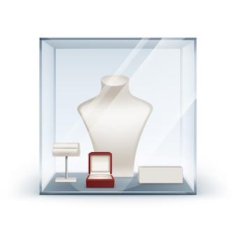 Conjunto de colar branco brincos e pulseira stand para jóias com caixa de jóias vermelha em caixa de vidro close-up isolado no branco