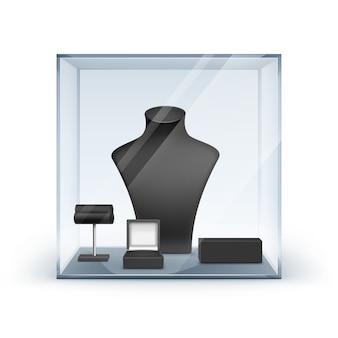 Conjunto de colar preto brincos e pulseira stand para jóias