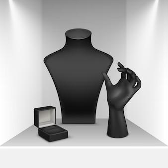 Conjunto de colar preto, pulseira e suporte de anel