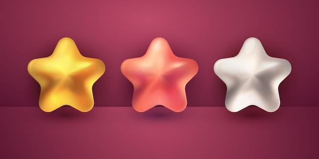 Conjunto de coleção 3d de estrelas realistas para o elemento de design islâmico ramadan kareem e eid mubarak