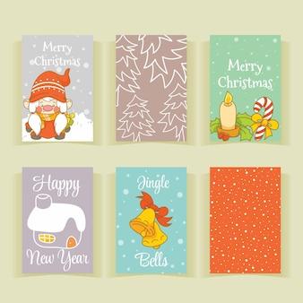 Conjunto de coleção bonito cartão de natal