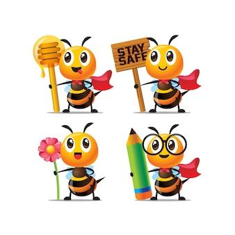 Conjunto de coleção de abelha fofa de desenho animado segurando diferentes itens