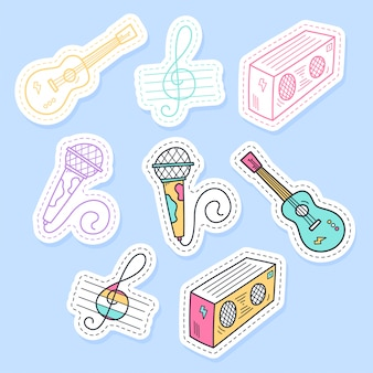 Conjunto de coleção de adesivos de música manuscrita em estilo cartoon.