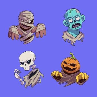 Conjunto de coleção de adesivos de personagens fofinhos de halloween