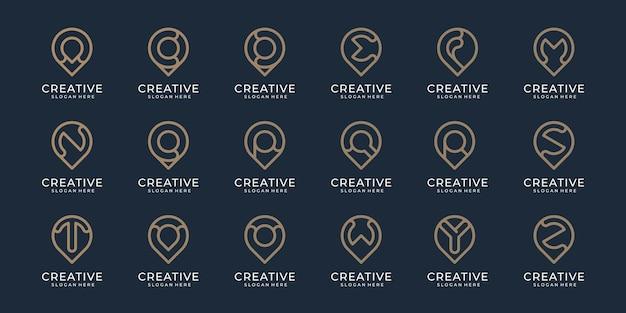 Conjunto de coleção de alfabeto de a a z com design de estilo de linha minimalista de logotipo de pino de localização para vetor premium de empresa de negócios