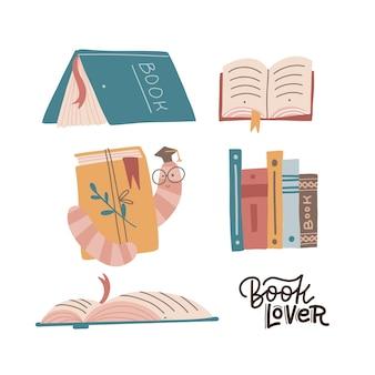 Conjunto de coleção de amantes de livros com vários livros e uma pilha de livros com o leitor ávido em copos