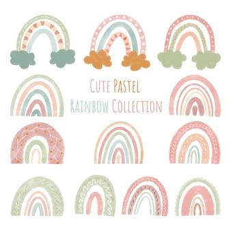 Conjunto de coleção de arco-íris fofos de ilustrações vetoriais em uma cor pastel de estilo simples