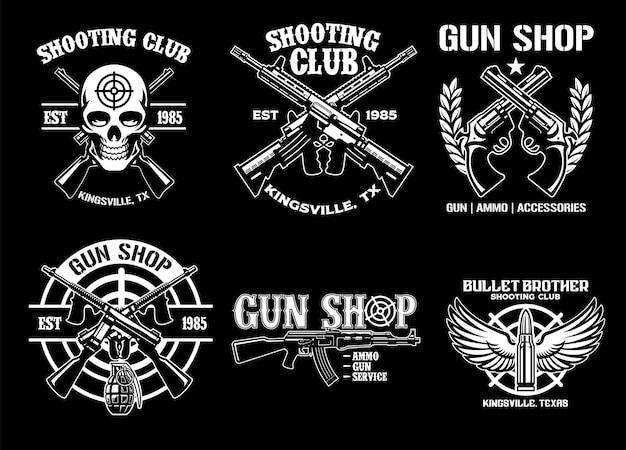 Conjunto de coleção de arma e design de distintivo do clube de tiro