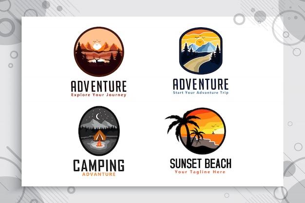Conjunto de coleção de aventura de montanha e praia logotipo com conceito de distintivo.