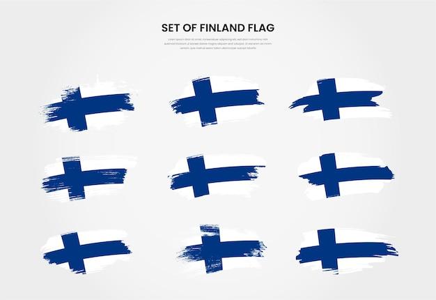 Conjunto de coleção de bandeiras de pinceladas de grunge country da finlândia