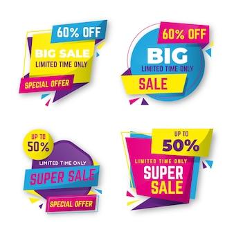 Conjunto de coleção de banner colorido de vendas