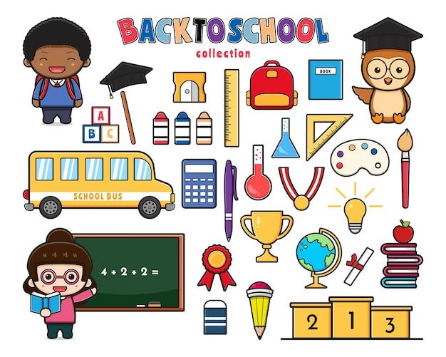 Conjunto de coleção de bonito de volta às aulas e equipamentos doodle clip art cartoon ícone ilustração plana cartoon style design