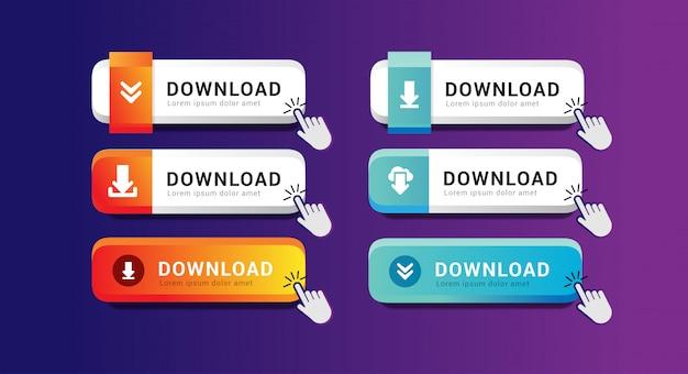 Conjunto de coleção de botão de download para o modelo de interface do usuário