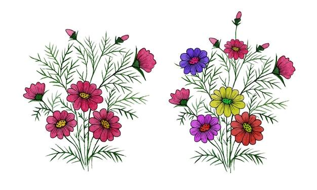Conjunto de coleção de bouquet floral selvagem colorido com aquarela