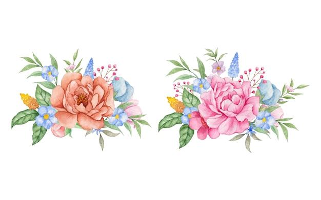 Conjunto de coleção de buquê de flores em aquarela