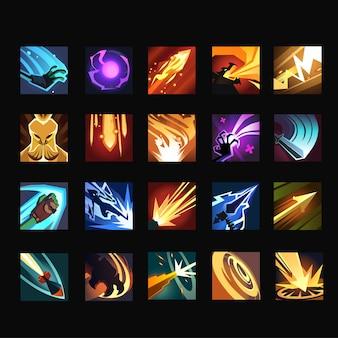 Conjunto de coleção de cartas de poder, ícone de habilidade para elementos de interface do usuário do jogo