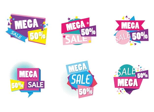 Conjunto de coleção de cartaz de compras de venda