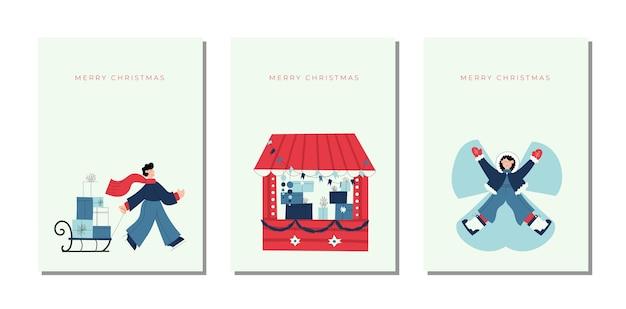 Conjunto de coleção de cartões de feliz natal e feliz ano novo desenhada à mão com ilustrações fofas de uma garota fazendo anjo de neve e um garoto carregando caixas de presente
