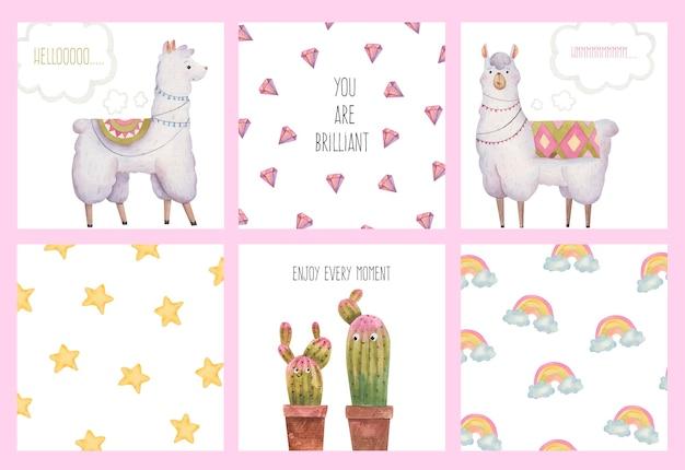 Conjunto de coleção de cartões fofos com lhamas e alpacas, cactos, estrelas, diamantes, ilustração em aquarela
