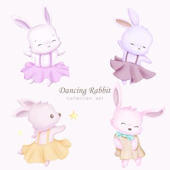 Conjunto de coleção de coelhos dançando com ilustração em aquarela