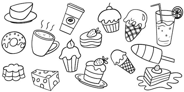 Conjunto de coleção de comida de doces doodle em background branco. ilustração vetorial.