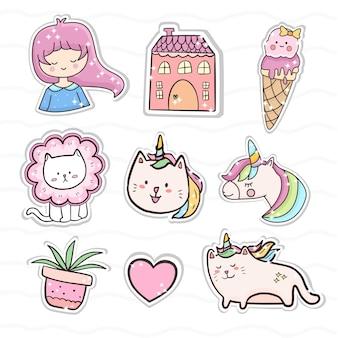 Conjunto de coleção de conjunto rosa de adesivo de gato e unicórnio fofo. sorvete