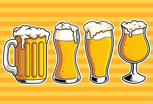 Conjunto de coleção de copos de cerveja com ilustração vetorial
