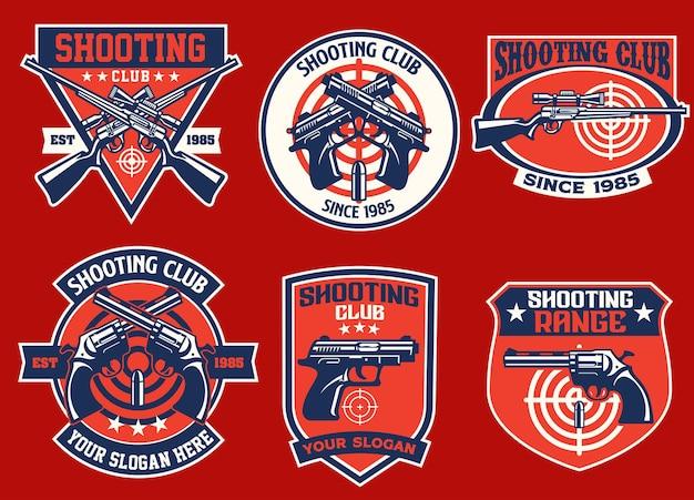 Conjunto de coleção de crachás do clube de tiro