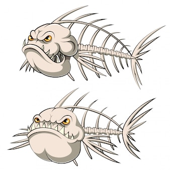 Conjunto de coleção de desenho animado de osso de peixe