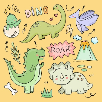 Conjunto de coleção de desenho de dino doodle