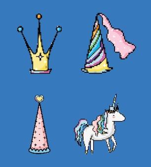 Conjunto de coleção de desenhos animados de fantasia pixelizada