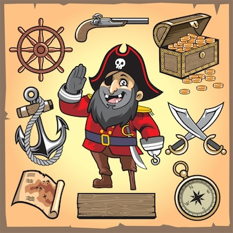 Conjunto de coleção de desenhos animados de pirata