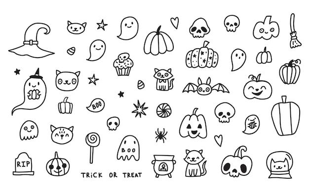 Conjunto de coleção de desenhos animados doodle de ícones e símbolos sobre o dia de halloween, fundo isolado
